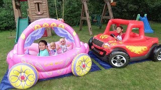 Download Children Play in Princess Carriage & Monster Truck Swimming Pool with Color Water Balloons Mp3 and Videos