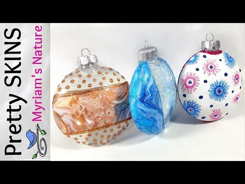 42]  Using ACRYLIC SKINS - 2 Dirty Pours & Fractals NEATLY added to ORNAMENTS - Tips & Techniques