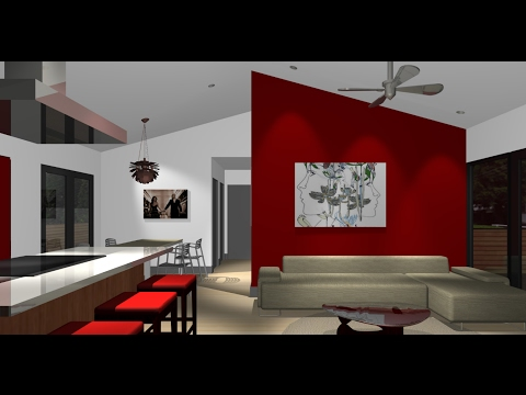 Red Accent Wall | Red Accent Wall Living Room Design