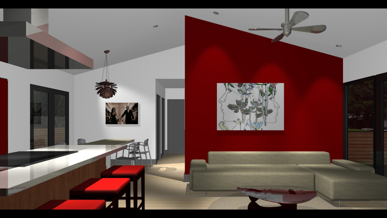 Red wall in living room for Red living room ideas