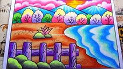Pemandangan Sunset Cara Mudah Menggambar Dan Mewarnai Dengan