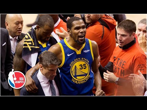 kevin-durant-suffers-achilles-injury-after-hot-start,-exits-game-5-|-2019-nba-finals-highlights