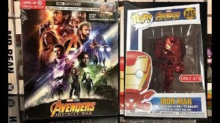 MARVEL INFINITY WAR RED CHROME IRON MAN FUNKO POP BLURAY TARGET EXCLUSIVE BUNDLE UNBOXING