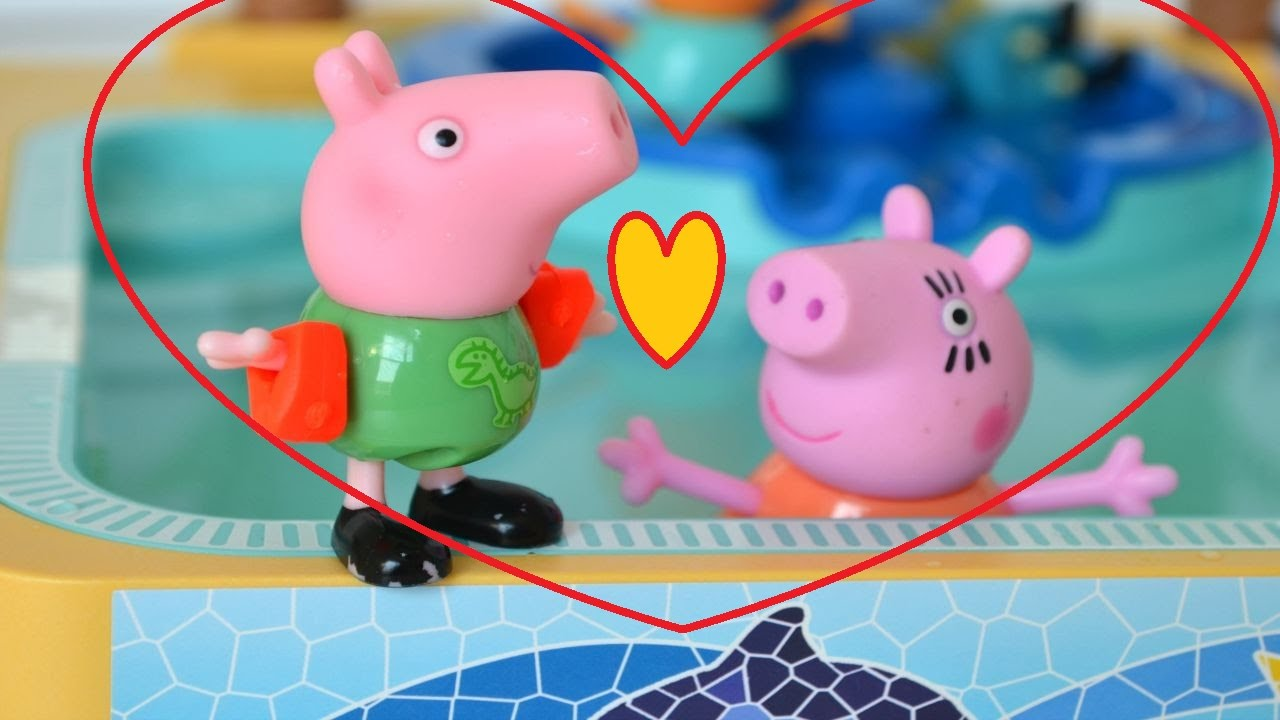 Peppa pig toys english episodes peppa pig welcome merry for Peppa pig piscina