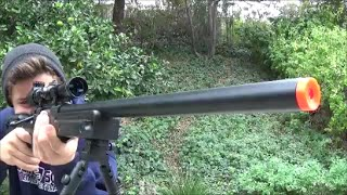 "Double Eagle L96 ""SCOPE CAM"" Airsoft Gun Shooting Test (Type 96 APS2, Shadow Op Master)"