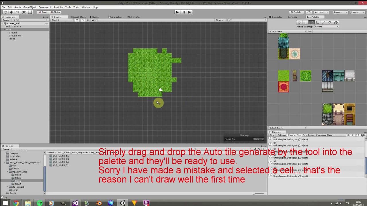 RPG Maker unity3D impoter tutorial import tileset tilemap word building