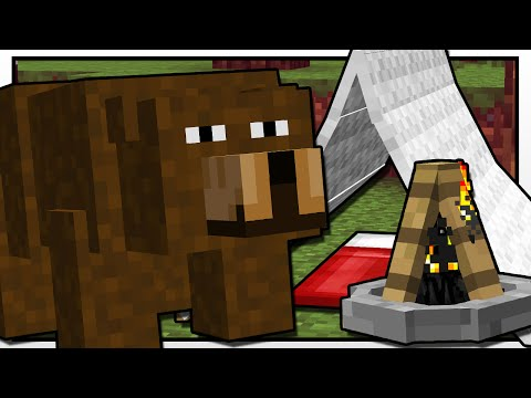 Thumbnail: Minecraft | CAMPING BEAR ATTACK!! | Custom Mod Adventure
