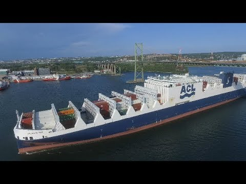 Awesome View! CONRO Vessel ATLANTC SUN under MacKay Bridge - Halifax, NS