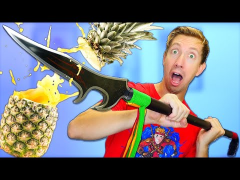 5 League of Legends Weapons vs Fruit Ninja in Real Life (LOL mobile game case opening review)
