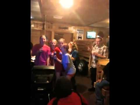 volleyball team singing karaoke