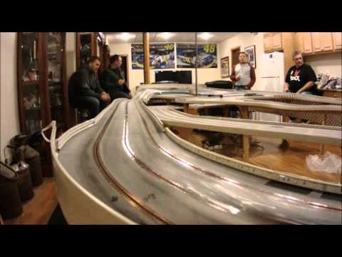 Carrera digital slot car 3 lane oval wood routed track