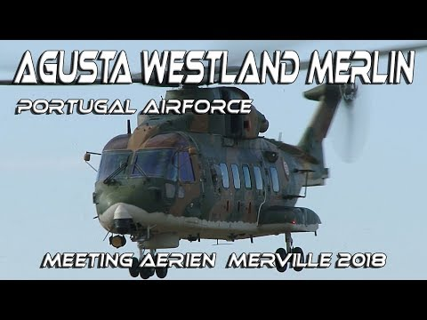 4K UHD Agusta Westland Merlin Rare Display From Portugal Airforce Merville Airshow 2018