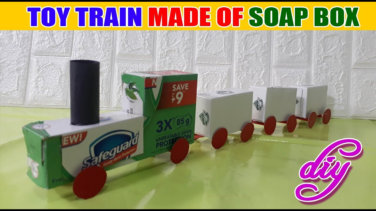 DIY Toy Train Made of Soap Box   DIY School Project   Recycled Materials