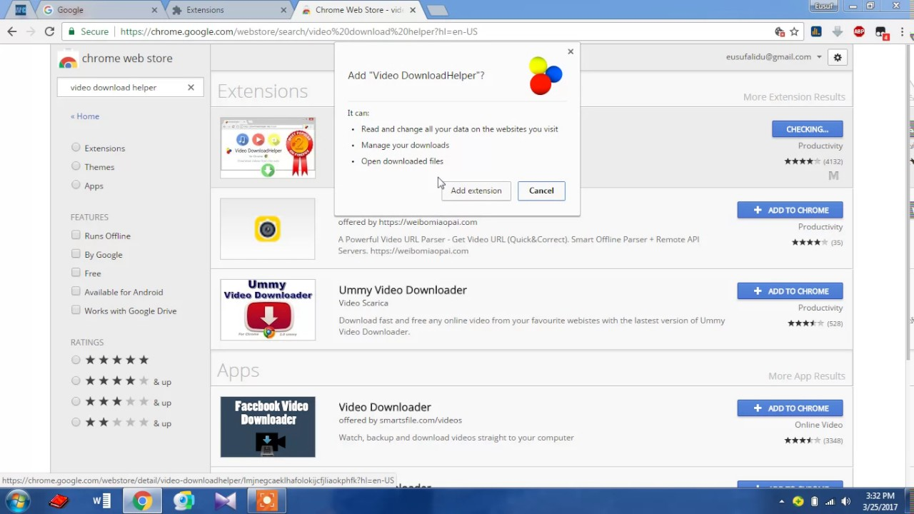 downloadhelper sur chrome