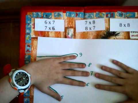 Умножение на 6, 7 и 8 на пальцах