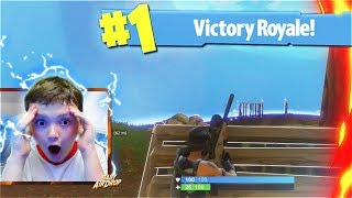 My Little Brother Reacts To His FIRST SOLO WIN In Fortnite Battle Royale! (Fortnite Victory Royale)