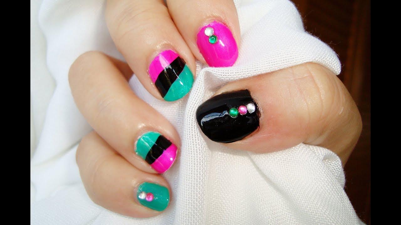 Diseño de uñas cortas punk: rosa verde negro / Punk short nails ...