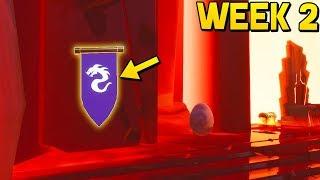 WEEK 2 SECRET BATTLESTAR BANNER LOCATION! (Fortnite Season 8 Week 2 Challenges)