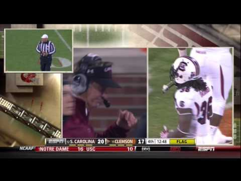 2012 USC vs Clemson - DJ Swearinger Big Hit/Personal Foul