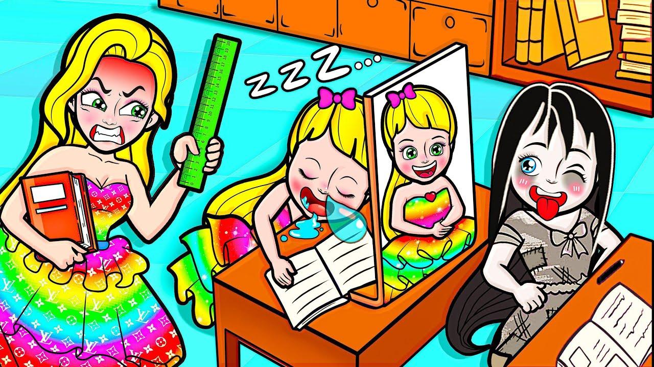 Paper Dolls Dress Up - Rapunzel's Joke vs Strict Mother Dress - Barbie Story & Crafts