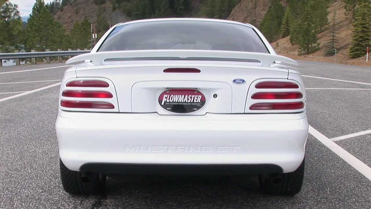 small resolution of 94 97 mustang gt with a flowmaster dual cat back exhaust system youtube
