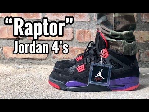 "ecd72bfa1b9b7f Air Jordan 4 ""Raptor"" on feet - YouTube"