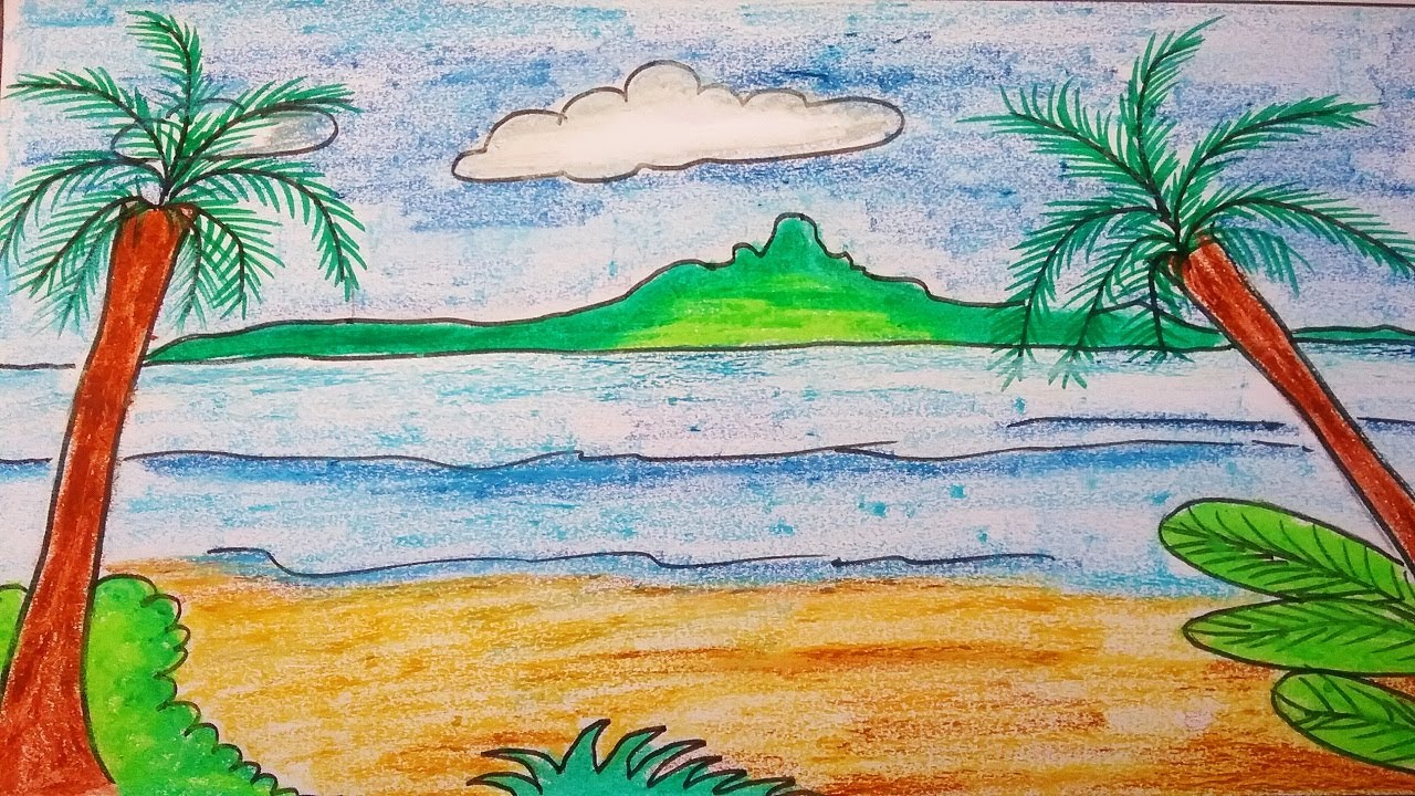 How to draw a landscape scenery of a beach. Easy palm trees drawing ...