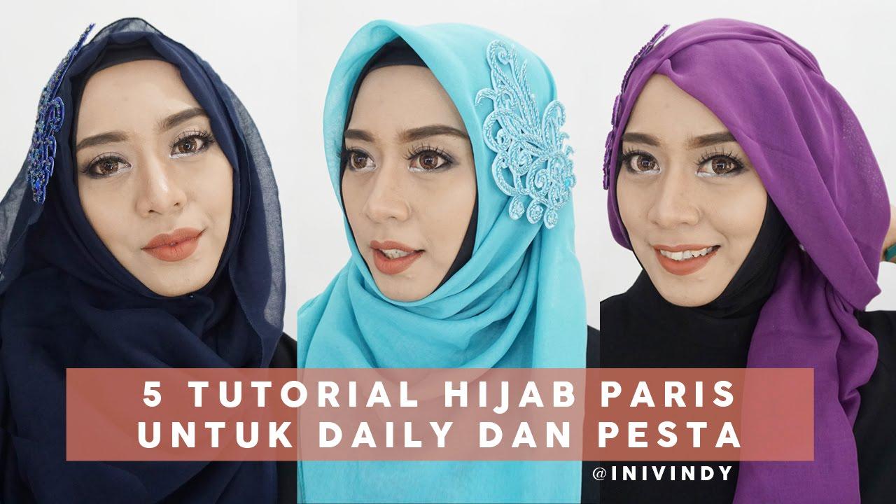 5 Tutorial Hijab Segi Empat Paris Untuk Sehari Hari Dan Pesta