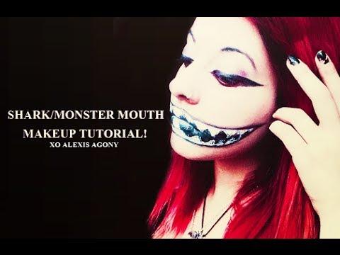 Shark/monster mouth makeup tutorial! - YouTube
