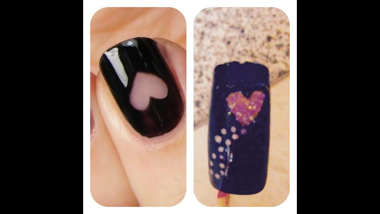 nail art cuore con cotton fioc