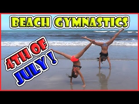MOM AND DAUGHTER BEACH GYMNASTICS | 4TH OF JULY | We Are The Davises