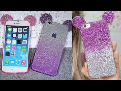 DIY: COMO FAZER CAPINHA DE CELULAR DO MICKEY (FÁCIL) Capinha Celular Glitter | Faça você mesma
