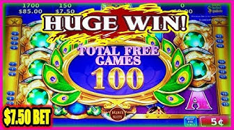 HUGE WIN! WIFE HITS A MASSIVE 100 FREE SPINS ON ADORNED PEACOCK SLOT MACHINE | $7.50 BET |