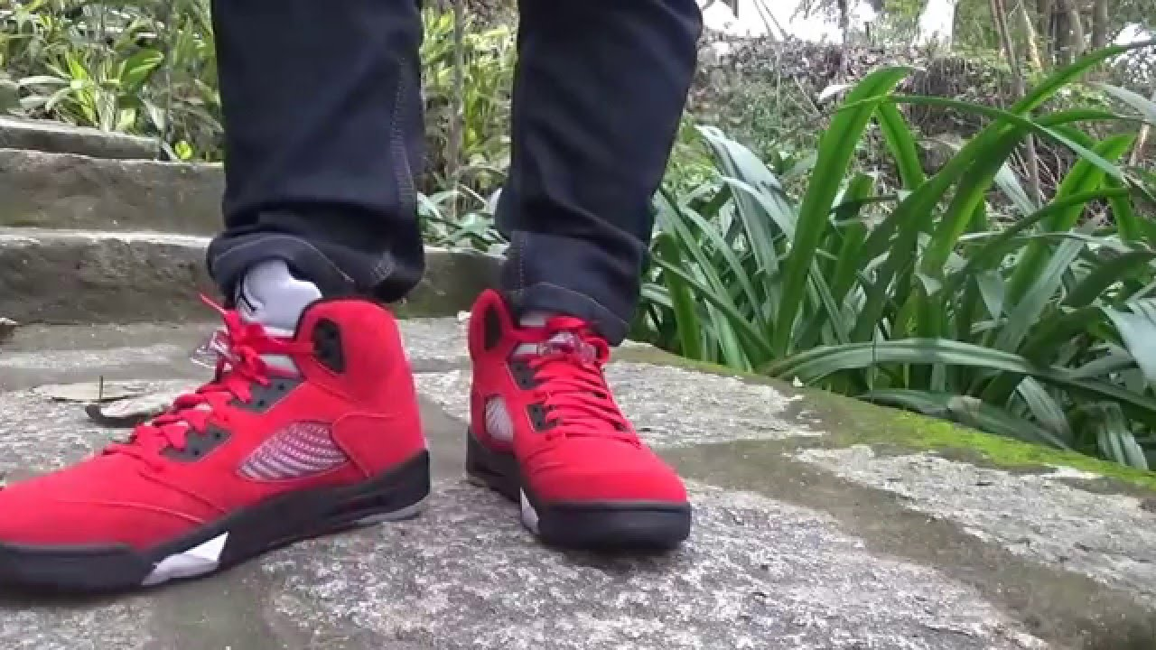 factory price ab4f4 ab5d5 ... good youtube wholesale online a8e67 d9f4b air jordan 5 retro raging bull  red suede on foot