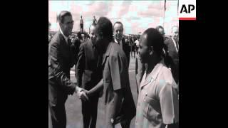 UPITN 4 12 66 PRESIDENT OF ZAMBIA KENNETH KAUNDA SPEAKING AT LUSAKA AIRPORT - 35MM