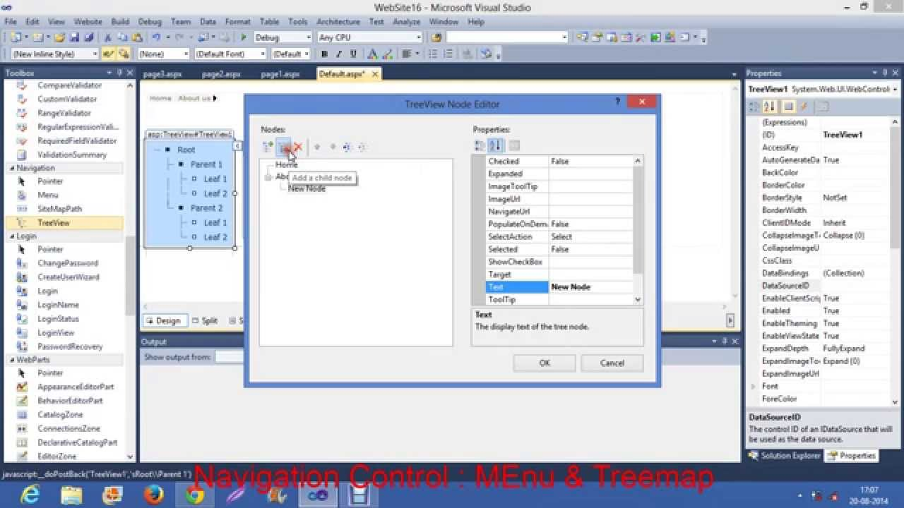 Download Navigation Control : Tree View  and Menu in Asp.net using C#