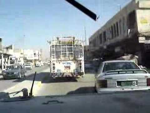 Humvee Traffic Driving in Baghdad