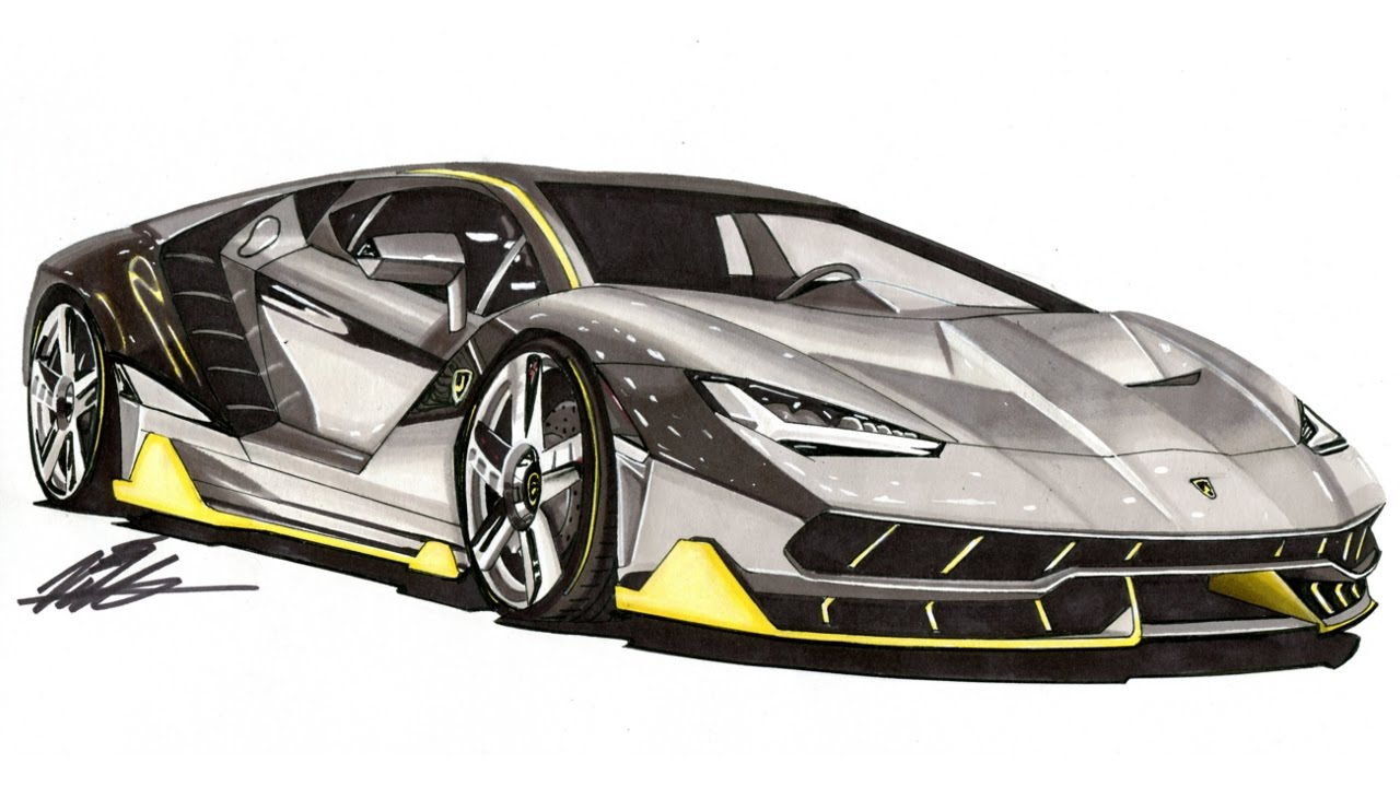 Realistic Car Drawing Lamborghini Centenario Time Lapse Youtube