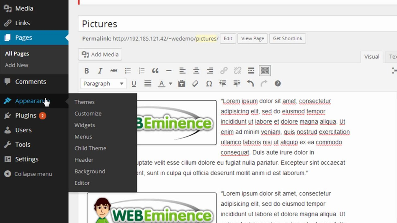 wordpress 3 9 image margins using css classes instead
