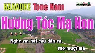 Hương Tóc Mạ Non Karaoke | Tone Nam | Nhạc Sống Thanh Ngân
