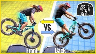 Should you land front OR back wheel first? | How to land mtb jumps and drops smoothly.