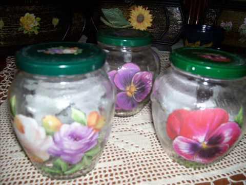 Barottolo di vetro doovi for Decoupage su vaso di vetro