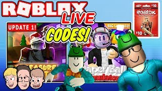 Treasure Quest & Paper Ball Simulator Codes Live! Roblox Charity Livestream | Robux Weekly Giveaway