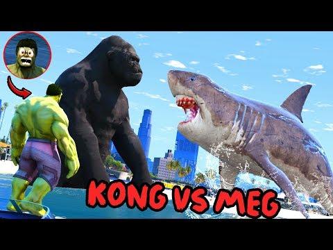 GTA 5 - HULK SAW KING KONG VS MEGALODON - Epic Monster Battle