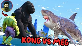 GTA 5 - HULK SAW KING KONG VS MEGALODON - Epic Monster Battle