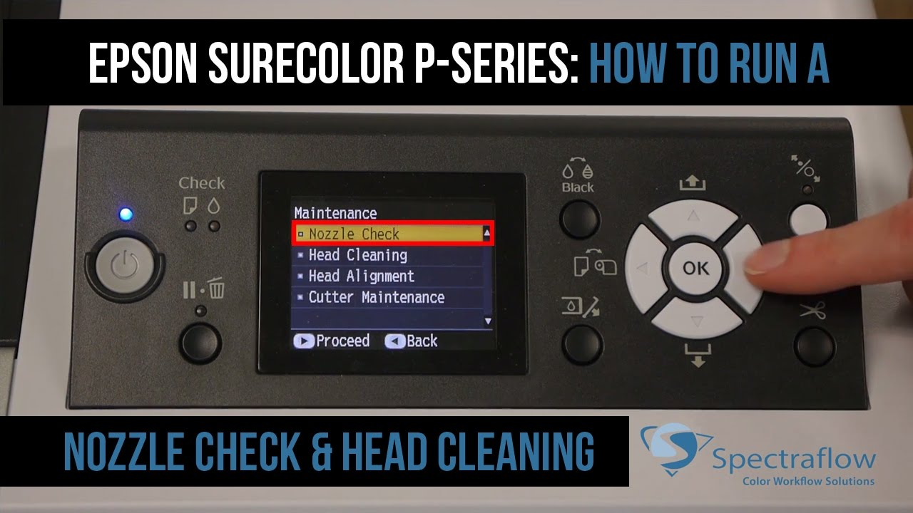 Epson Surecolor P Series Nozzle Checks And Cleanings Youtube
