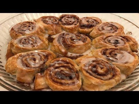 Cinnamon rolls using puff pastry
