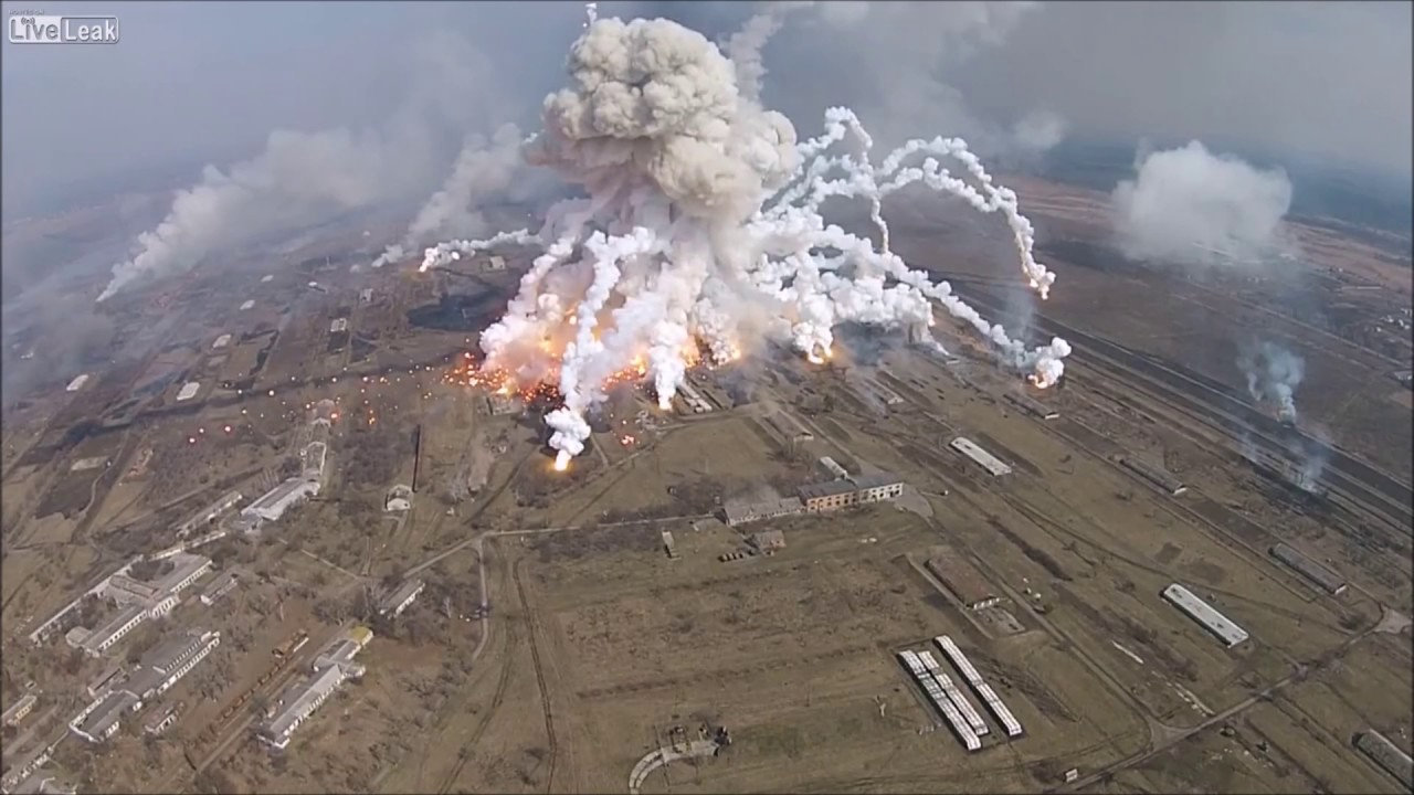 Explosions in Balakleya, Ukraine - Footage from Drone