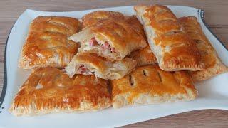 Ленивые пирожки из готового теста Слойки сыром и колбасой Выпечка из слоеного теста Завтрак
