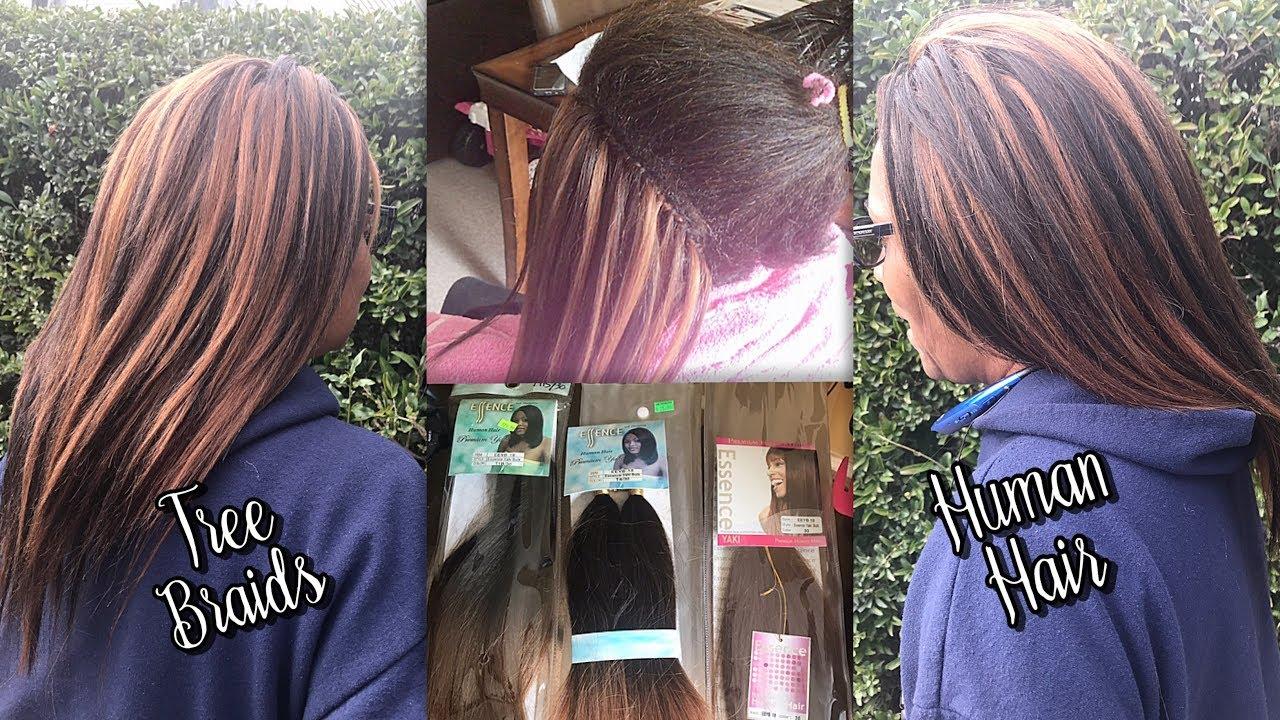 HOW TO DO TREE BRAIDS WITH HUMAN HAIR - ESSENCE YAKI BULK ...